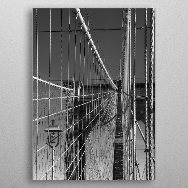 High contrast black and white photography featuring New York's Brooklyn Bridge.  metal poster