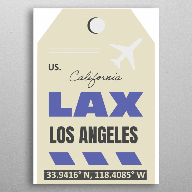Airport code, travel style. metal poster