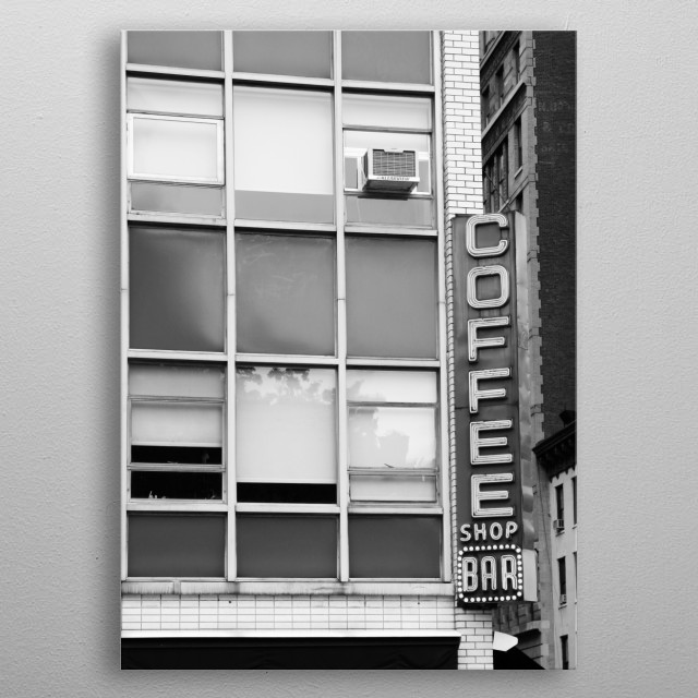 This coffee shop is on a busy corner in Manhattan, New York City. Black and white architectural photography. metal poster