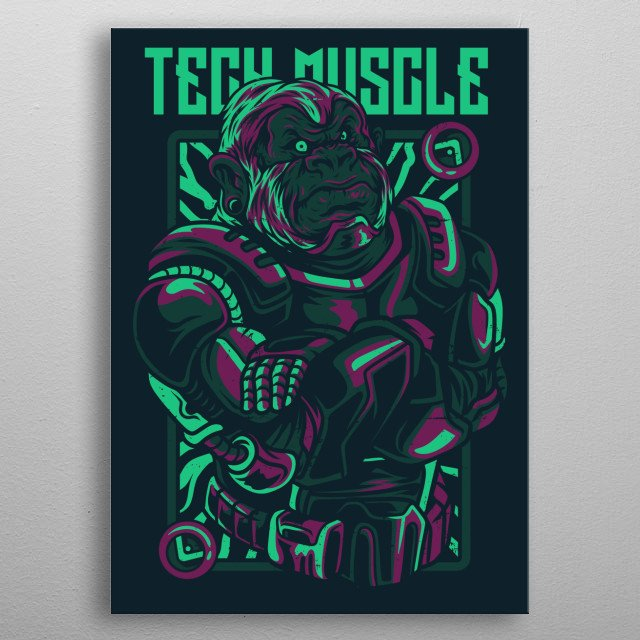 An illustration of a gorilla fighter. metal poster