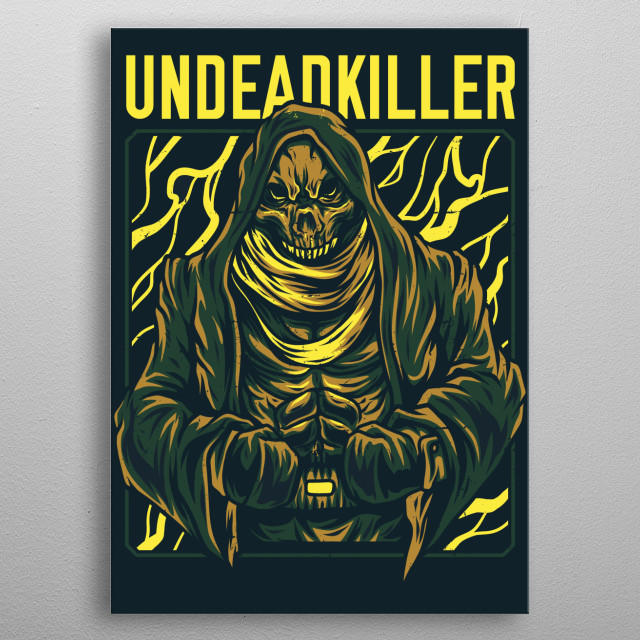 An illustration of an undead zombie killer. metal poster