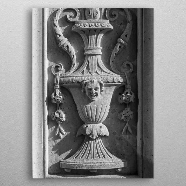 I discovered this ornate carving in New York City. Black and white photography.  metal poster