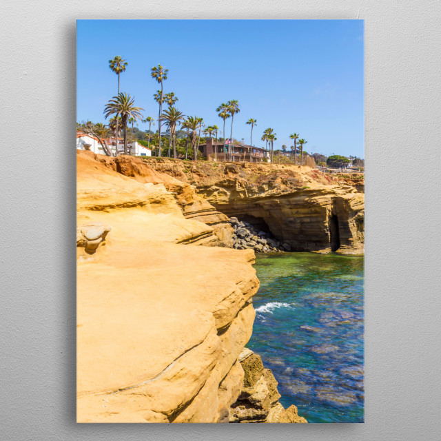 Sunset Cliffs is located at the southern part of Ocean Beach with stunning views over the Pacific Ocean and the San Diego coastline. metal poster