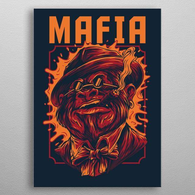 An illustration of a Mafia Boss Monkey. metal poster