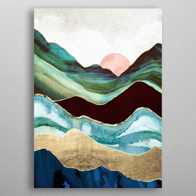 Abstract landscape of velvet mountains, with blue, gold and green metal poster