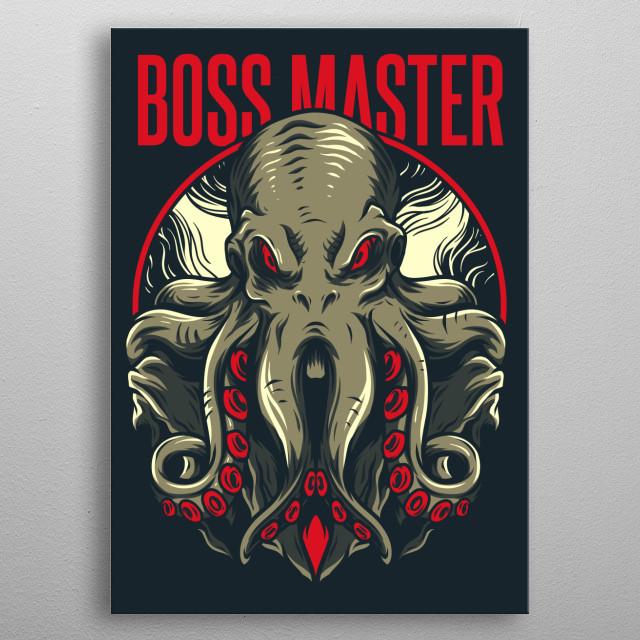 An illustration of an evil octopus. metal poster