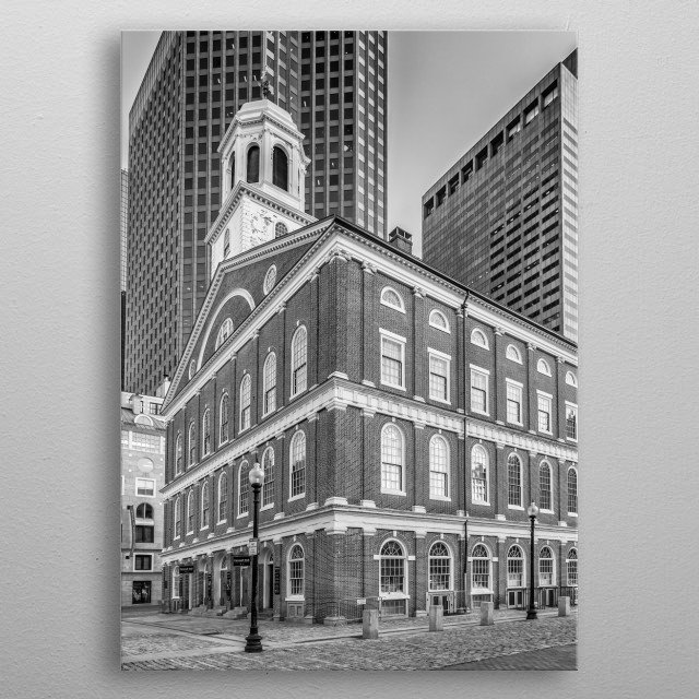 Faneuil Hall in Boston has been a marketplace and meeting hall since 1743. It is a stop on the Freedom Trail. Urban cityscape in monochrome. metal poster