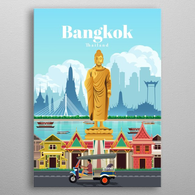 Digital illustration of Bangkok's city skyline and architecture of their homes with a Buddha statue metal poster