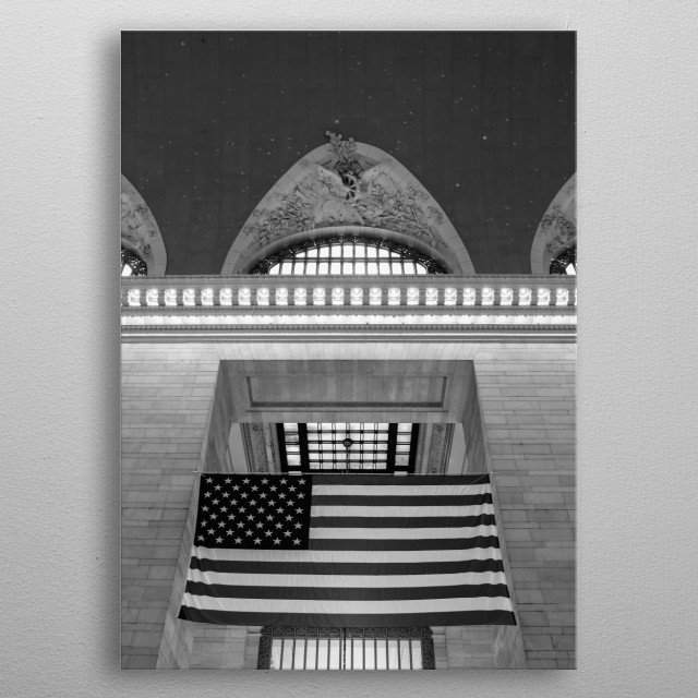 An American flag hangs in New York City's Grand Central Station. Black and white photography. metal poster