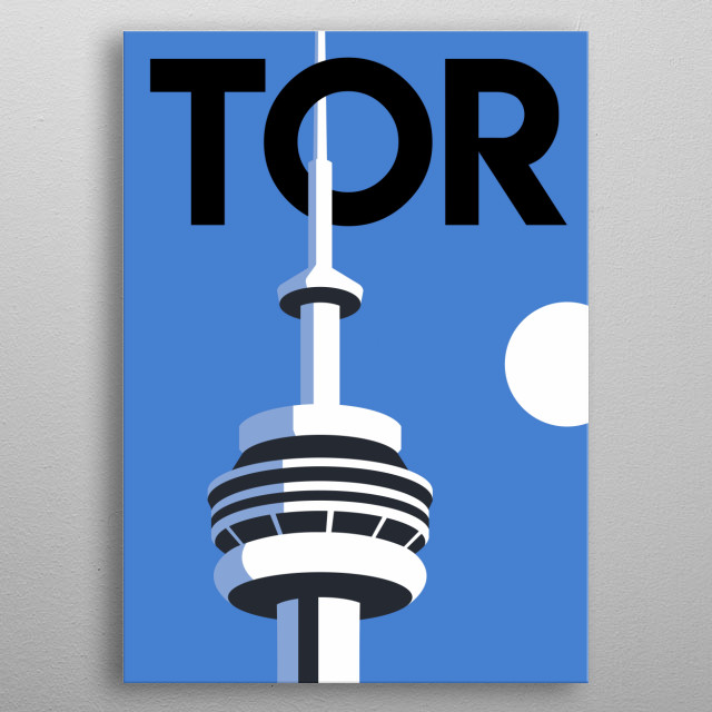 Towering above the capital of Ontario, Canada, the Toronto CN Tower reaches far into the sky. metal poster