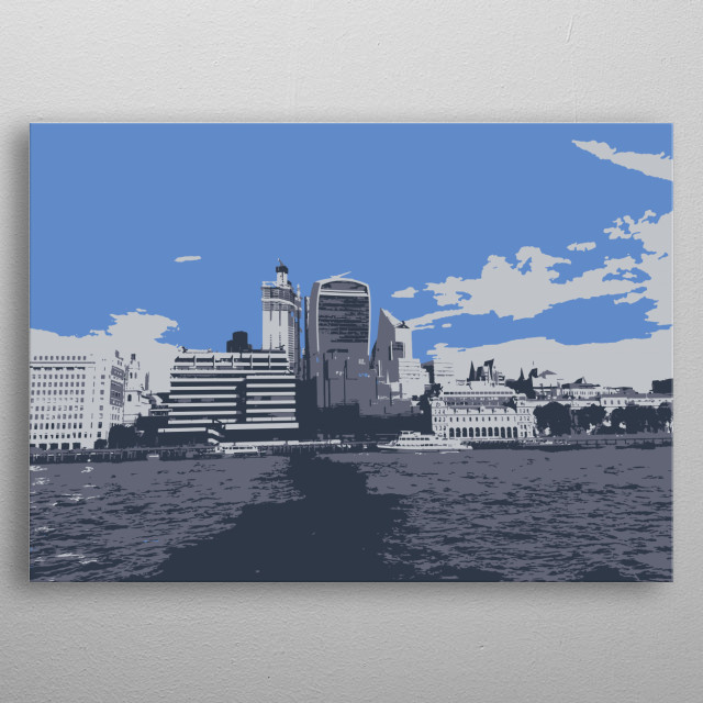 Minimalist illustration from my own photograph looking over the Thames. metal poster