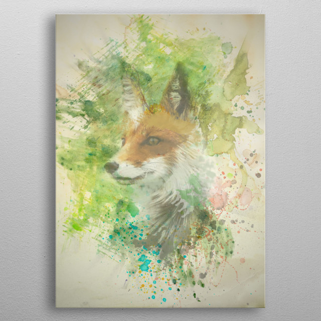 Fox illustration made in watercolor style metal poster