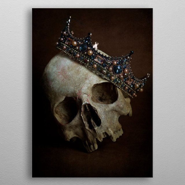 Still life with human skull wearing king's crown metal poster