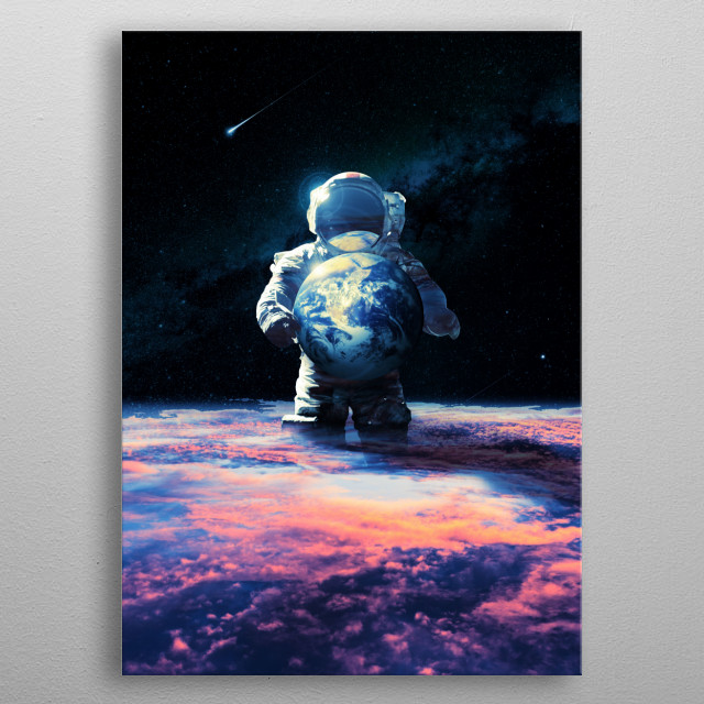 Dropping off the planet Earth somewhere in space. metal poster