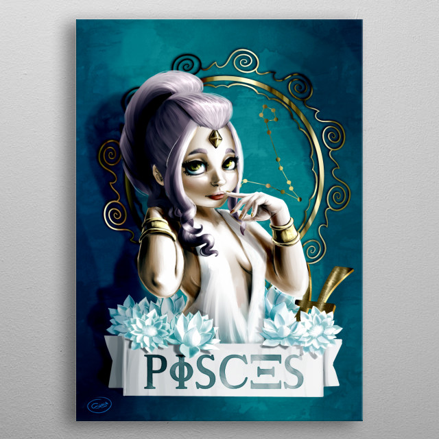 My vision of a Pisces sign mascotte, Shinja style. metal poster