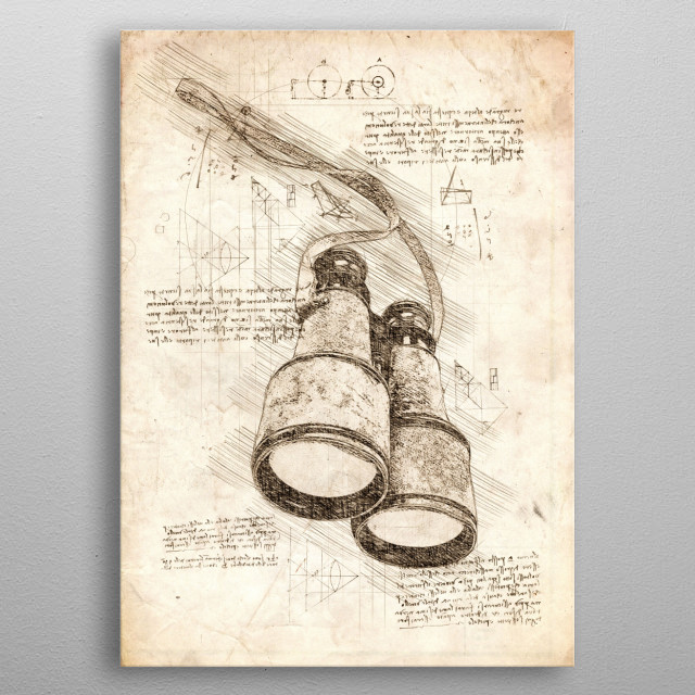 Sketch of Binoculars metal poster