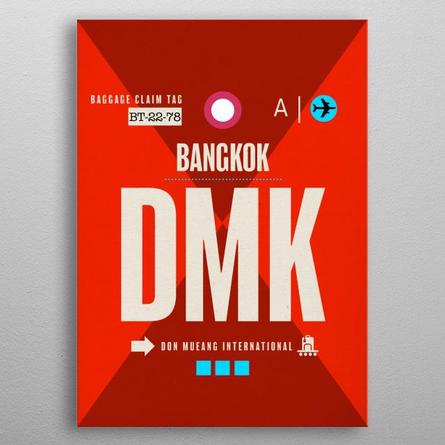 Bangkok DMK Airport Code Luggage Baggage Claim Tag Travel Series Thailand metal poster