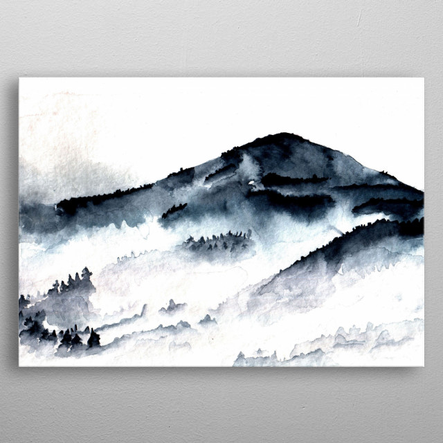 Minimalism watercolor mountains landscape metal poster