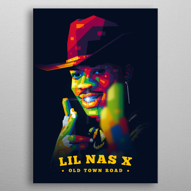 Popart portrait illustration of Montero Lamar Hill, known professionally as Lil Nas X, is an American rapper, singer and songwriter. metal poster