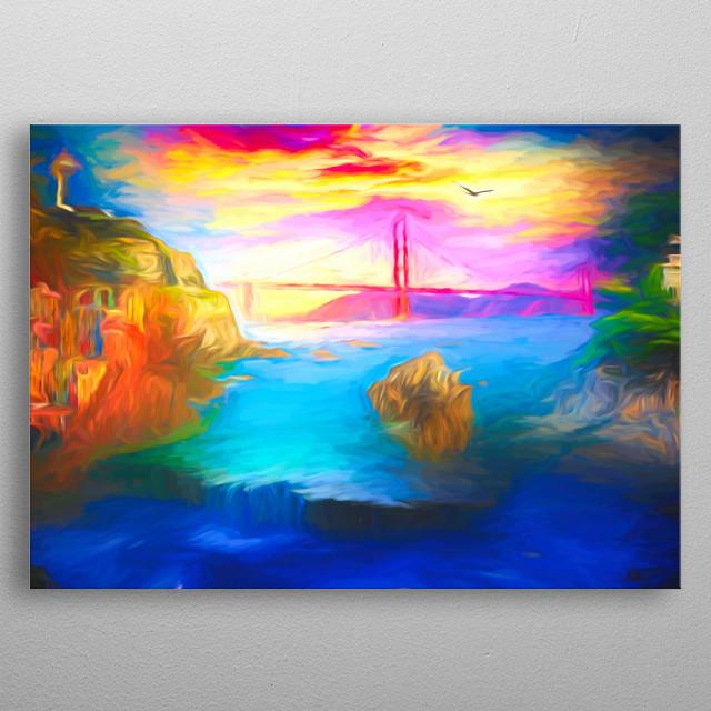 The Bridge between two cliffs metal poster