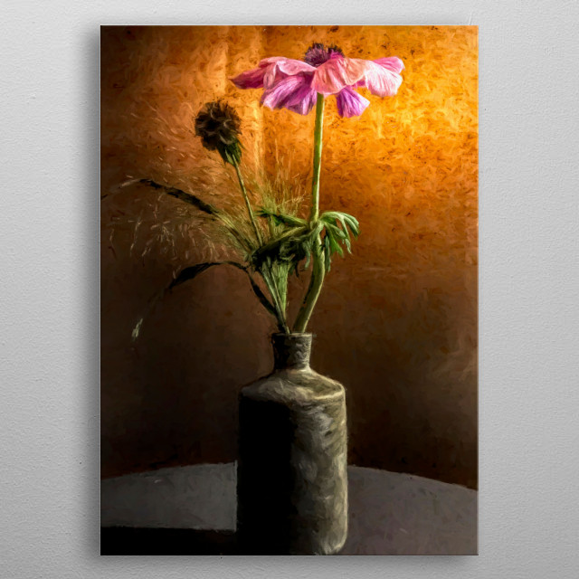 Pink flower in grey vase with orange background and shadow. Original oil painting made in Copenhagen, Denmark by Brian Vegas (C) 2019 metal poster