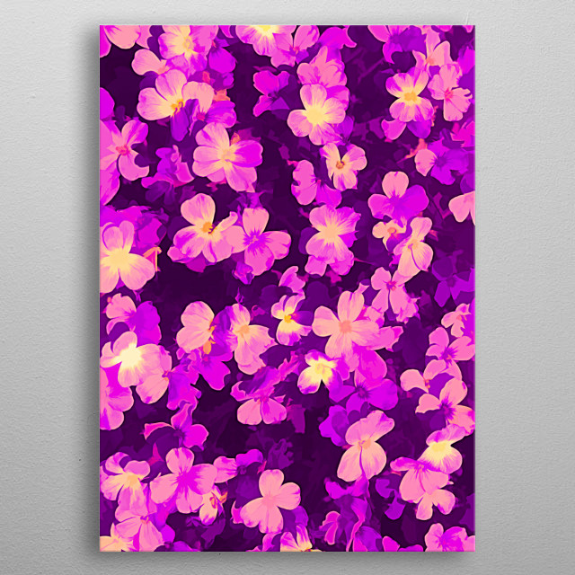 Bed of pink flowers painting, from Copenhagen Denmark. By Brian Vegas (C) 2019 metal poster