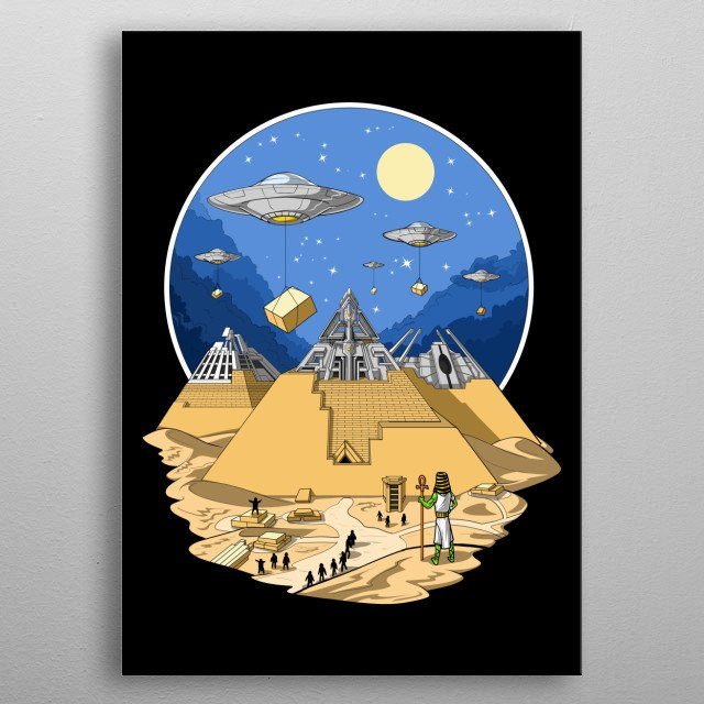 Egyptian Pyramids Aliens metal poster for science fiction lover. metal poster