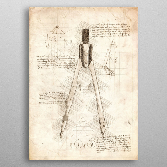 Sketch of a Drawing Compass metal poster