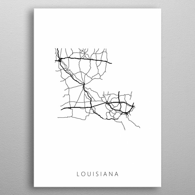 Map of Louisiana created by roads and highways. metal poster