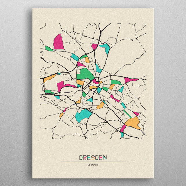 Colorful street map of Dresden, Germany. The map is randomly painted with modern and pop colors to give abstract look to the design. metal poster