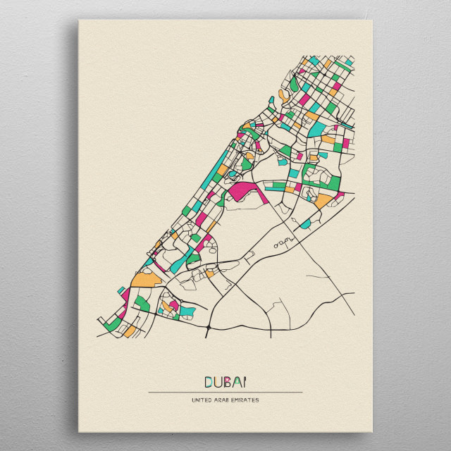 Colorful street map of Dubai, United Arab Emirates. The map's randomly painted with modern & pop colors to give abstract look to the design. metal poster