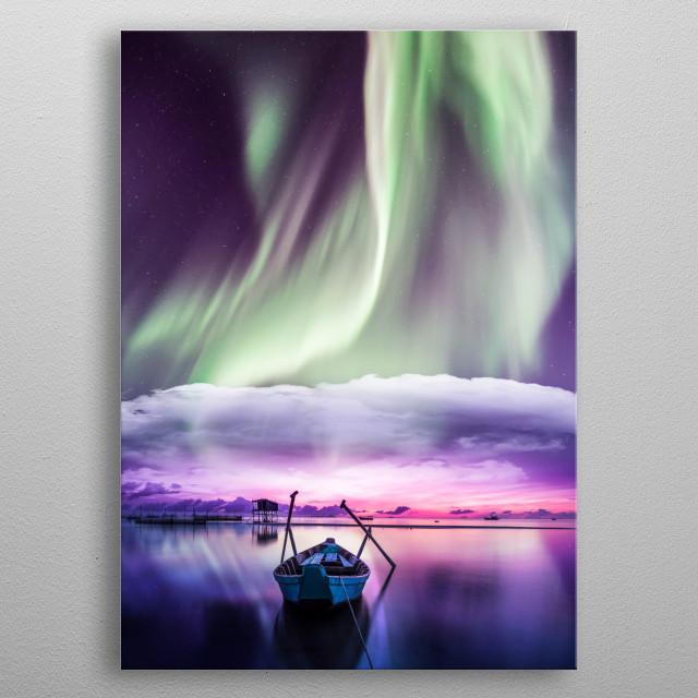 Northern Lights Over The Sea. metal poster