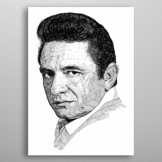 Johnny Cash portrait art metal poster