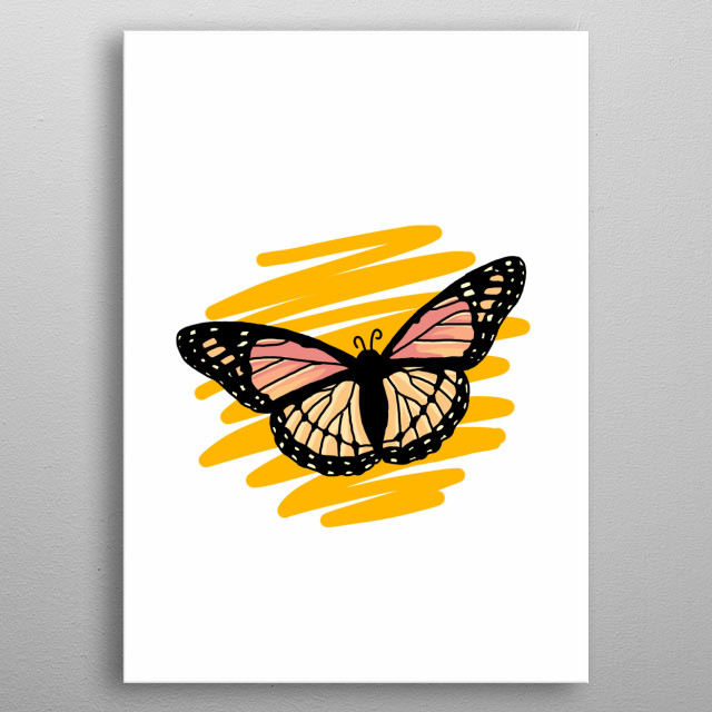 Butterfly Hand Drawn Design Illustration metal poster