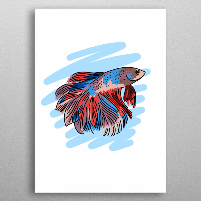 Colorful Fish Hand Drawn Design Illustration metal poster