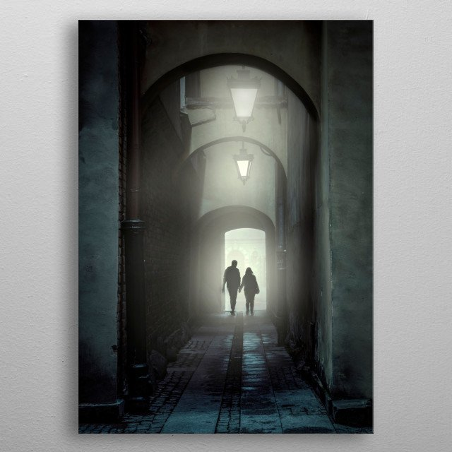 Passage of arches in the evening. metal poster