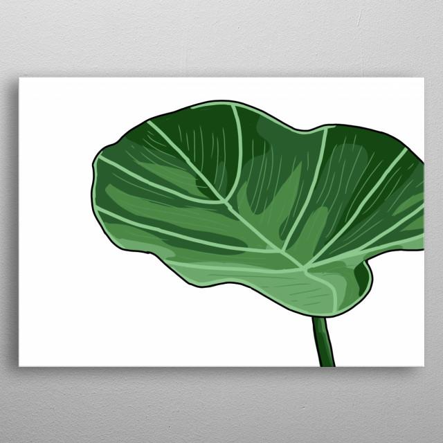 Leaf Hand Drawn Design Illustration metal poster