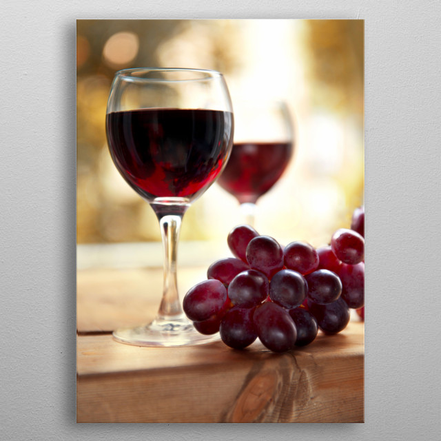 Still life with fresh dark grapes and wineglasses metal poster