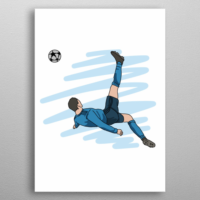 Football Player Hand Drawn Design Illustration metal poster