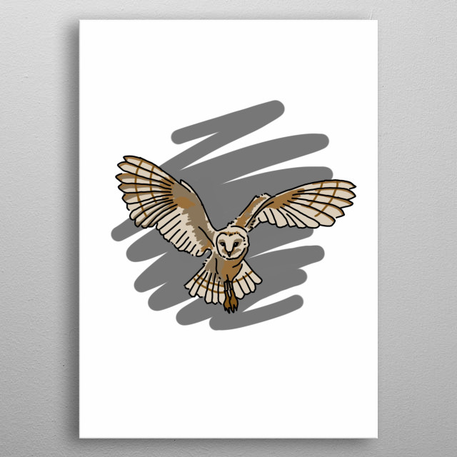 Owl Bird Hand Drawn Design Illustration metal poster