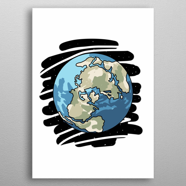 Earth Hand Drawn Design Illustration metal poster