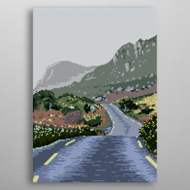 A road through the mountains in County Kerry, Ireland. metal poster