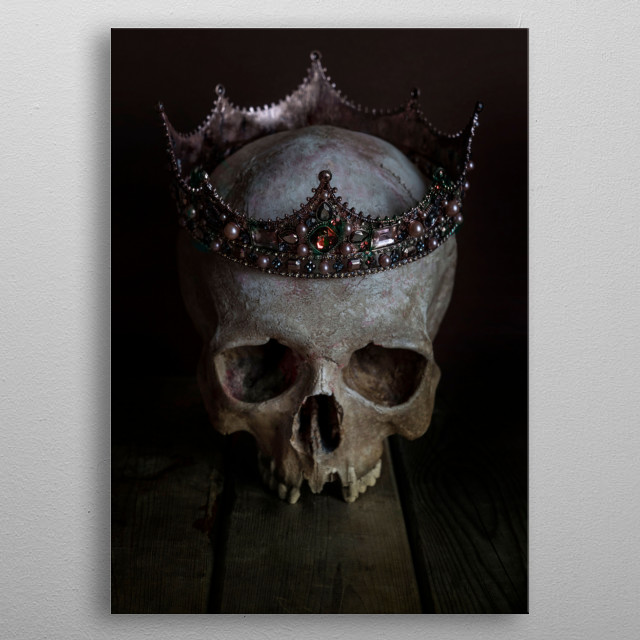 Still life with male skull wearing rich ornamented crown metal poster