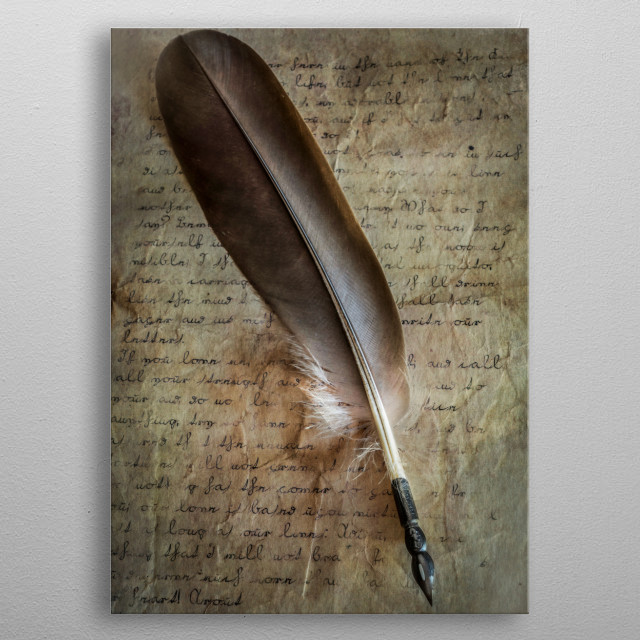 Still life with old style feather pen on hanwritten love letter metal poster