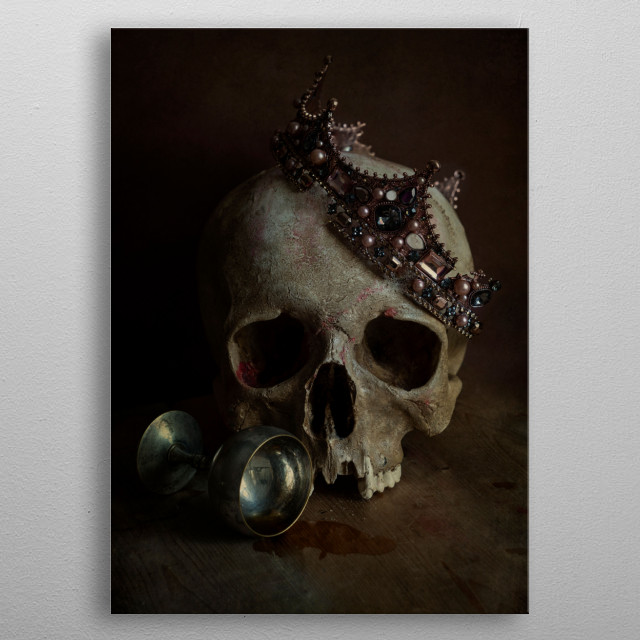 Still life with skull, broken crown and silver chalice metal poster