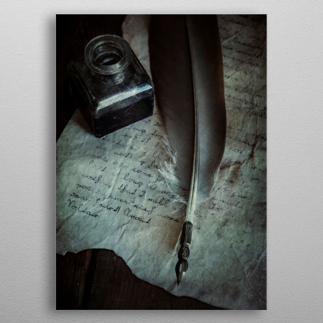 Still life with handwritten letter, ink bottle and old feather pen metal poster
