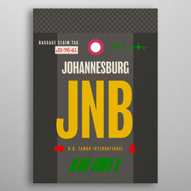 Johannesburg JNB South Africa Airport Code Baggage Claim Luggage Tag Series metal poster