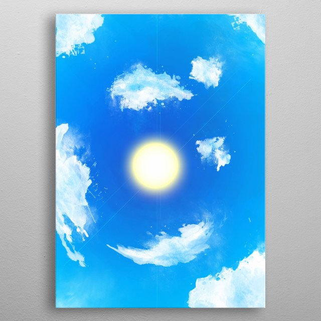 A summer sun surrounded by clouds on a calm day. metal poster