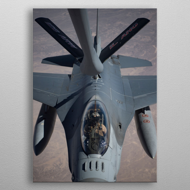 The General Dynamics F-16 Fighting Falcon is a single-engine supersonic multirole fighter aircraft. metal poster