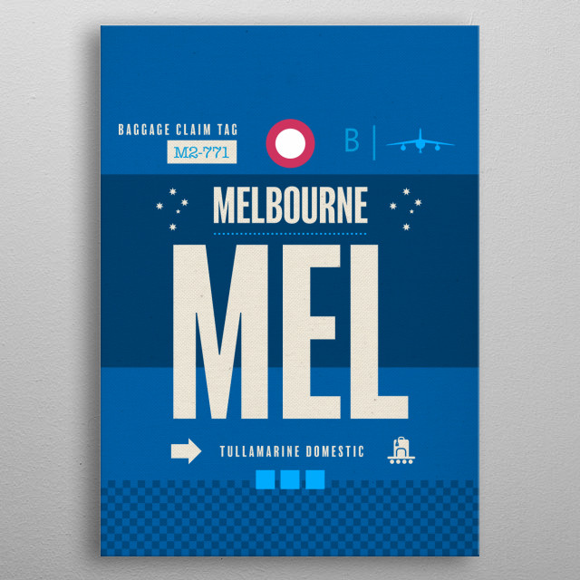 Melbourne MEL Australia Airport Code Baggage Claim Luggage Tag Series metal poster